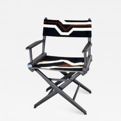 Vintage needlepoint director s chair folding black brown white geometric - 1590117