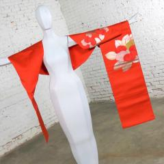 Vintage orange silk japanese obi with gold and silver lam and brocade - 1706235