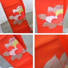Vintage orange silk japanese obi with gold and silver lam and brocade - 1706337