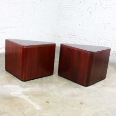 Vintage pair of mahogany triangular end tables or pedestals - 1682195