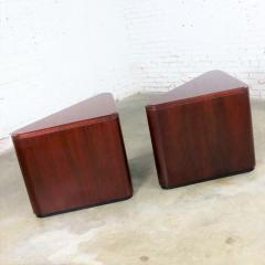 Vintage pair of mahogany triangular end tables or pedestals - 1682199