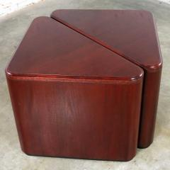 Vintage pair of mahogany triangular end tables or pedestals - 1682202