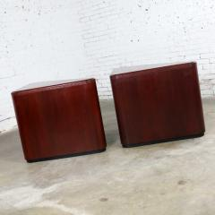 Vintage pair of mahogany triangular end tables or pedestals - 1682215