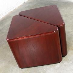 Vintage pair of mahogany triangular end tables or pedestals - 1682220