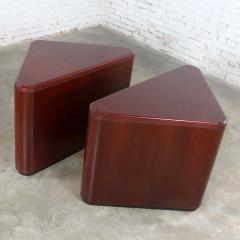 Vintage pair of mahogany triangular end tables or pedestals - 1682244