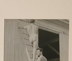 Vintage photograph of two men on a ladder American Circa 1950 - 1506685