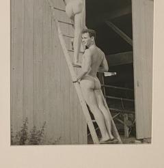 Vintage photograph of two men on a ladder American Circa 1950 - 1506687