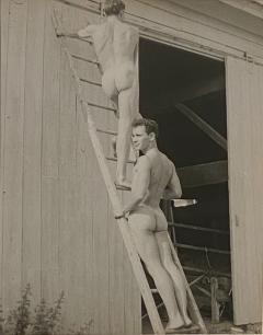 Vintage photograph of two men on a ladder American Circa 1950 - 1506688