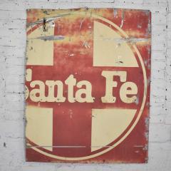 Vintage primitive rustic extra large santa fe railroad metal sign - 1588914