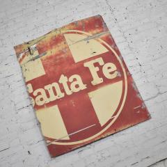 Vintage primitive rustic extra large santa fe railroad metal sign - 1588915