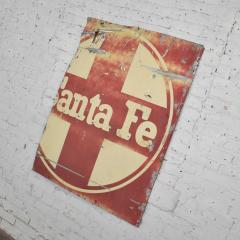 Vintage primitive rustic extra large santa fe railroad metal sign - 1588916