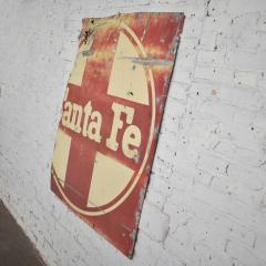 Vintage primitive rustic extra large santa fe railroad metal sign - 1588917