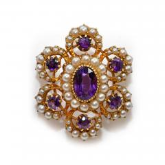 Vioctorian Amethysts Brooch with Natural Pearls 15Ct Mounting - 150399