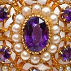 Vioctorian Amethysts Brooch with Natural Pearls 15Ct Mounting - 150403