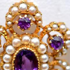 Vioctorian Amethysts Brooch with Natural Pearls 15Ct Mounting - 150405