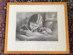 Virgil Finlay GIRL WRITING IN BOOK LITHOGRAPH BY VIRGIL FINLAY - 1706492