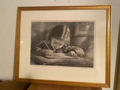 Virgil Finlay GIRL WRITING IN BOOK LITHOGRAPH BY VIRGIL FINLAY - 1706493