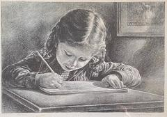 Virgil Finlay GIRL WRITING IN BOOK LITHOGRAPH BY VIRGIL FINLAY - 1709504