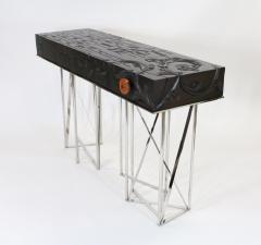 Visilek Furniture LLC Mondrian Meets Gaudi Mahogany and Stainless Steel Console - 946323