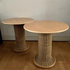 Vittorio Bonacina Late 60s Pair of Side Table in Wood and Rattan - 1209997