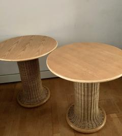 Vittorio Bonacina Late 60s Pair of Side Table in Wood and Rattan - 1209998