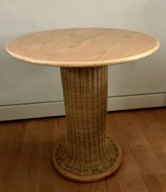 Vittorio Bonacina Late 60s Pair of Side Table in Wood and Rattan - 1209999