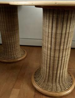 Vittorio Bonacina Late 60s Pair of Side Table in Wood and Rattan - 1210001
