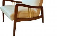 Vittorio Dassi Italian Modern Mahogany and Brass Lounge Chair Ottoman - 1114170