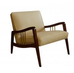 Vittorio Dassi Italian Modern Mahogany and Brass Lounge Chair Ottoman - 1114183