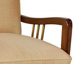 Vittorio Dassi Italian Modern Mahogany and Brass Lounge Chair Ottoman - 1114184