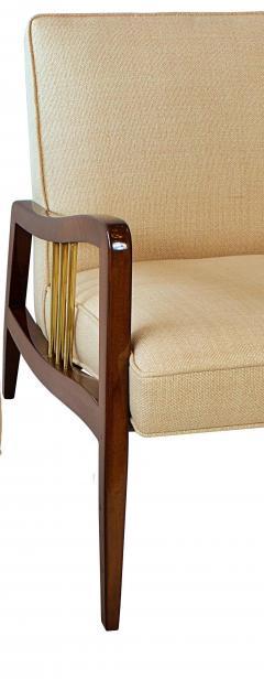 Vittorio Dassi Italian Modern Mahogany and Brass Lounge Chair Ottoman - 1114185