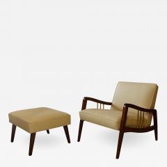 Vittorio Dassi Italian Modern Mahogany and Brass Lounge Chair Ottoman - 1153440