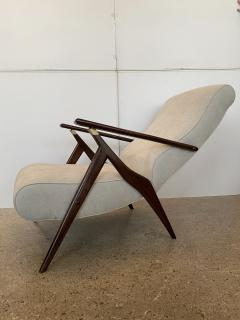 Vittorio Dassi Italian Modern Mahogany and Brass Reclining Arm Chair and Ottoman Dassi - 1752644