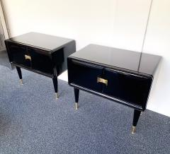 Vittorio Dassi Pair of Lacquered and Bronze End Tables by Vittorio Dassi Italy 1950s - 972400