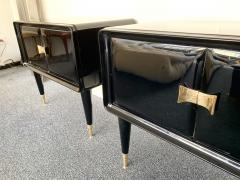 Vittorio Dassi Pair of Lacquered and Bronze End Tables by Vittorio Dassi Italy 1950s - 972402