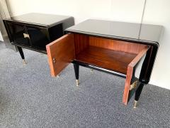 Vittorio Dassi Pair of Lacquered and Bronze End Tables by Vittorio Dassi Italy 1950s - 972404