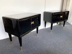Vittorio Dassi Pair of Lacquered and Bronze End Tables by Vittorio Dassi Italy 1950s - 972406