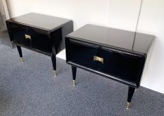 Vittorio Dassi Pair of Lacquered and Bronze End Tables by Vittorio Dassi Italy 1950s - 972408