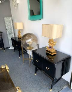 Vittorio Dassi Pair of Lacquered and Bronze End Tables by Vittorio Dassi Italy 1950s - 1078403