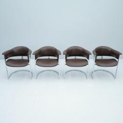 Vittorio Introini Set of Four Vittorio Introini Chrome and Brown Leather Dining Chairs 1970s - 1709707