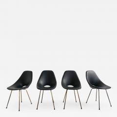 Vittorio Nobili Set of 4 Vittorio Nobili Medea Chairs in Blue Navy Faux Leather - 773366
