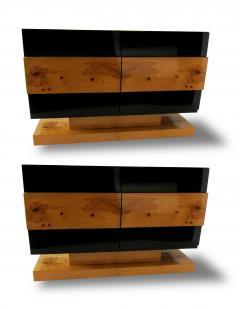 Vladimir Kagan Pair of American Modern Black Lacquer and Burled Wood Credenza Vladimir Kagan - 1204329