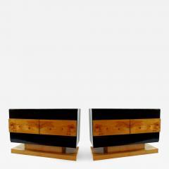 Vladimir Kagan Pair of American Modern Black Lacquer and Burled Wood Credenza Vladimir Kagan - 1208685