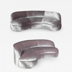 Vladimir Kagan Pair of Biomorphic Curved Velvet Sofas attr to Vladimir Kagan for Directional - 1061580