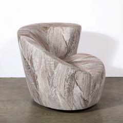 Vladimir Kagan Pair of Swiveling Nautilus Chairs by Vladimir Kagan in Holly Hunt Fabric - 2004814