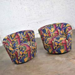 Vladimir Kagan Pair of asymmetric nautilus swivel chairs in style of vladimir kagan - 1609058