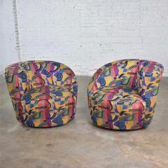 Vladimir Kagan Pair of asymmetric nautilus swivel chairs in style of vladimir kagan - 1609064