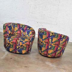 Vladimir Kagan Pair of asymmetric nautilus swivel chairs in style of vladimir kagan - 1609090