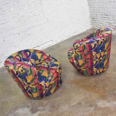 Vladimir Kagan Pair of asymmetric nautilus swivel chairs in style of vladimir kagan - 1609095
