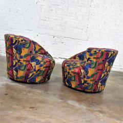 Vladimir Kagan Pair of asymmetric nautilus swivel chairs in style of vladimir kagan - 1609096